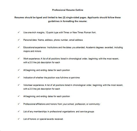 Resume Outline by 12 Resume Outline Templates Sles Doc Pdf Free