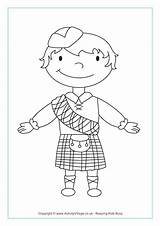 Kilt Colouring Coloring Scottish Pages Boy Template sketch template