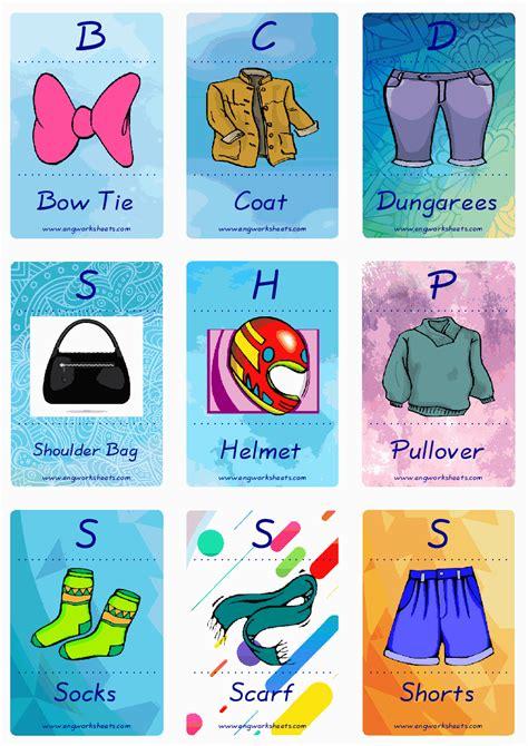 clothes esl printable english flash cards worksheets