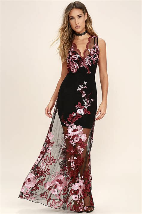 black white netted overlay lovely embroidered maxi dress wine and black dress