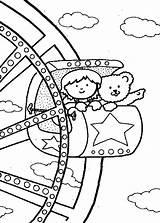 Coloring Carnival Rides Ferris Wheel Amusement Azcoloring Enregistree Depuis sketch template
