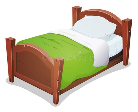 Wood Bed With Green Blanket Stock Illustration