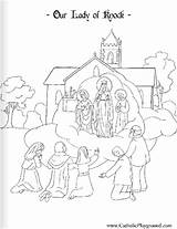 Lady Knock Coloring Pages August Catholic 21st Playground Catholicplayground Colouring Printable Sheets Mary Saints sketch template
