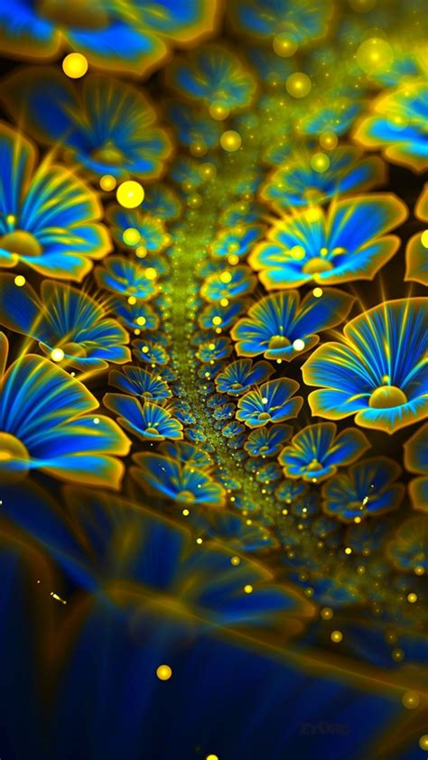 wallpaper digital flowers  abstract