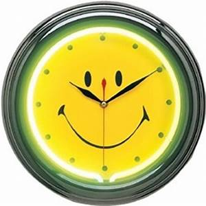 Happy Face Neon Wall Clock Neon Clocks