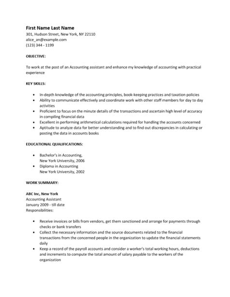 free accounting assistant resume template sle ms word