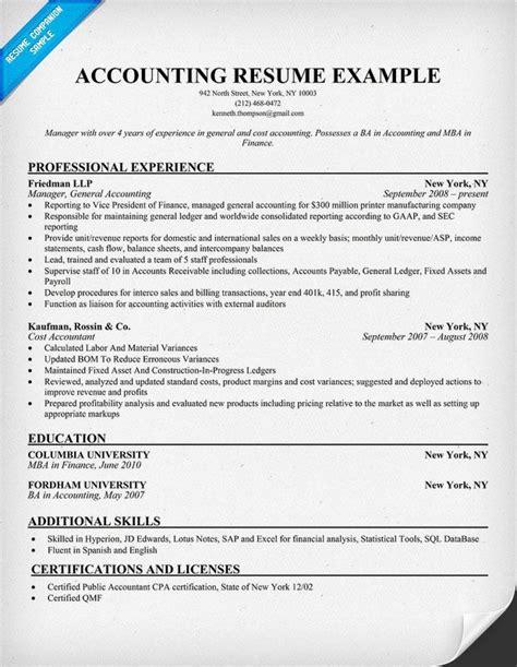 accounting supervisor resume resume samples