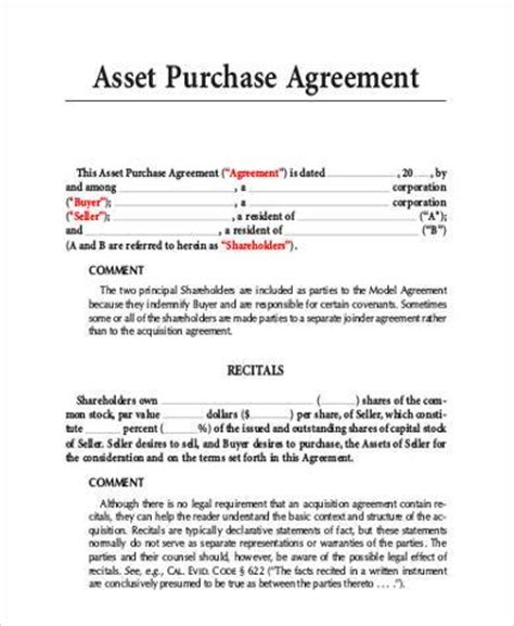 asset purchase agreement template sle asset purchase agreement 9 free documents in word pdf