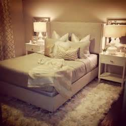 neutral glam bedroom beige white gold shag rug gourd ls square mirrors tufted bed