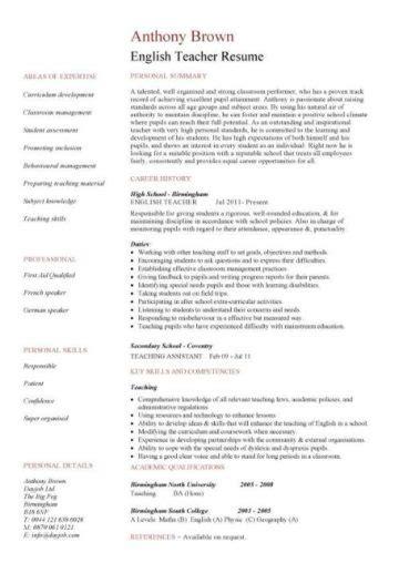 english teacher cv sample assign  grade class work