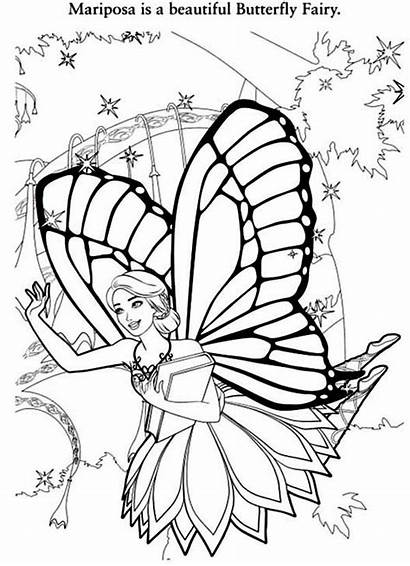 Coloring Fairy Pages Barbie Mariposa Butterfly Printable