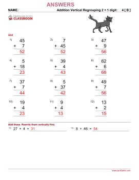 single digit vertical division with regrouping professor pete s classroom 187 addition vertical 2 digit