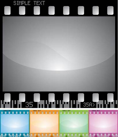 Vector Filmstrip Frame Elements Colored Flat Icon
