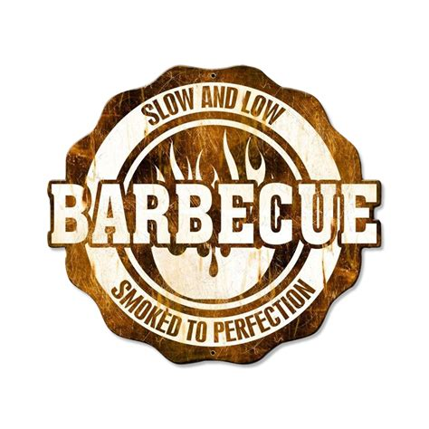 barbecue and low metal sign bbq restaurant kitchen decor 24 x 21 ebay