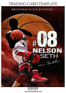 Collage Template Photoshop Nelson Seth Basketball Sports Trading Card Photoshop Template