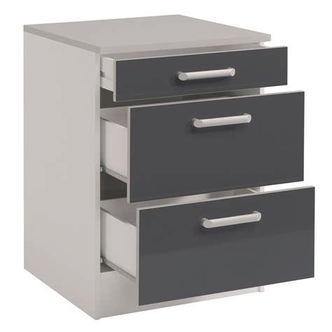 meuble cuisine a tiroir meuble bas de cuisine contemporain 60 cm 3 tiroirs blanc