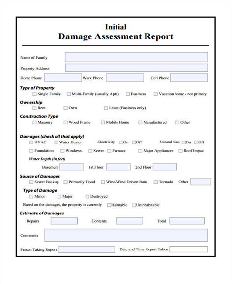 damage report templates  sample  format