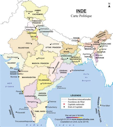 Carte Politique Du Monde Indien by Carte Politique Inde