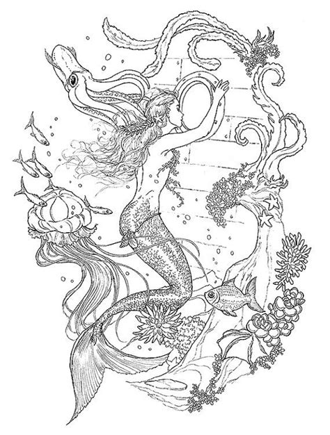 Curious Mermaid Ink drawing coloring page by