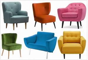 6 fauteuils colores au look vintage tres soldes joli place With fauteuil couleur design