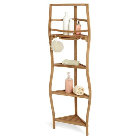 Tall Narrow Corner Bathroom Cabinet by Tall Teak Wood Corner Shelf For Bathroom With Pull Out