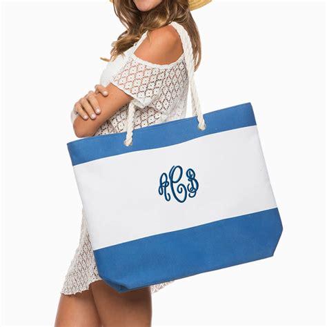 large monogrammed beach bag stripes honeymoon bag personalized brides