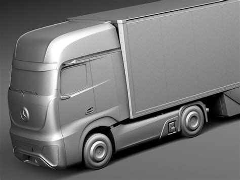 mercedes benz ft 2025 future truck with trailer 3d model