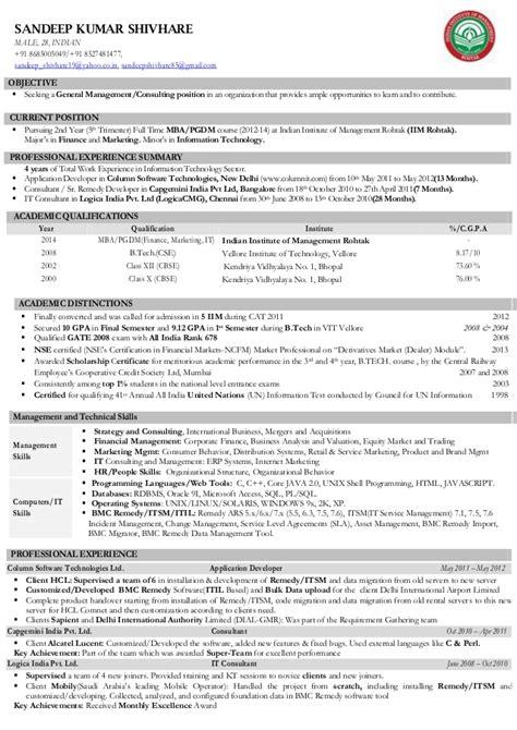 Iim Mba Student Resume Format by Cv Sandeep Kumar Shivhare Iim Rohtak Consulting General Managem