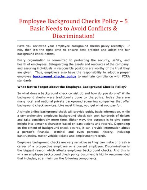 Background Check Policy Employee Background Checks Policy 5 Basic Needs To Avoid