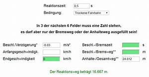 Reaktionsweg Berechnen : bremswegrechner bremsweg anhalteweg berechnen strommer johannes ~ Themetempest.com Abrechnung