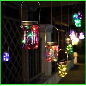 8 LED Solar Power Hanging Glass Jar Lamp Garden Courtyard