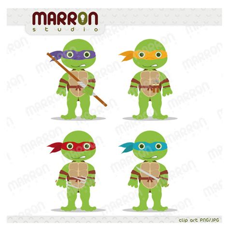 teenage mutant ninja turtles inspired leonardo donatello raphael  michaelangelo clip art