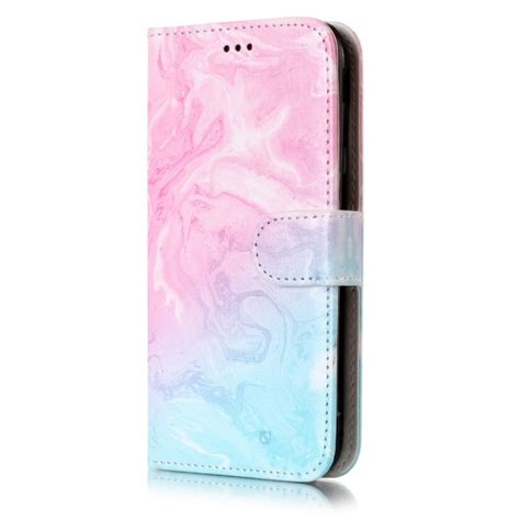 samsung galaxy   eu version pink green marble pattern horizontal flip leather case