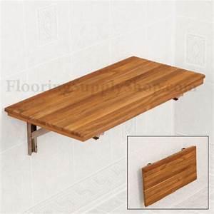 Teak Wood Wall Mount Fold-Down Bench - Modern - Bathroom