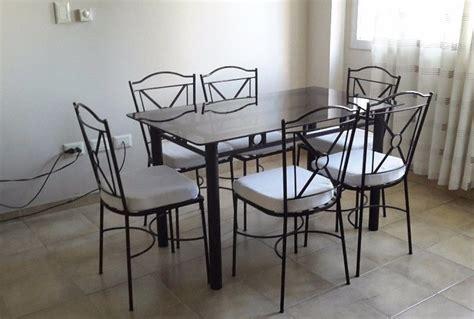 juego de comedor  seis sillas cano  hierro
