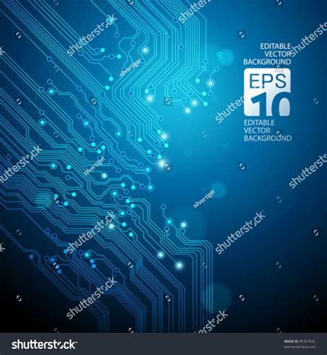Circuit Board Vector Blue Background Stock