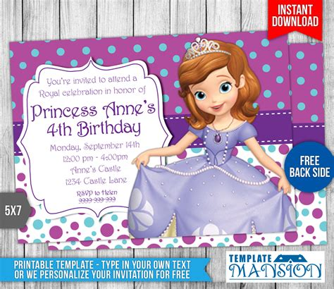 sofia   birthday invitation   templatemansion