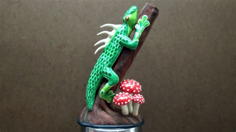 polymer clay lizard sculpture finished youtube