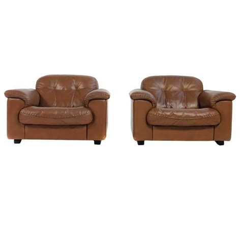 pair of high quality 1960s de sede ds 101 leather lounge