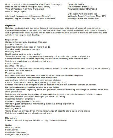 food service resume sample  examples  word