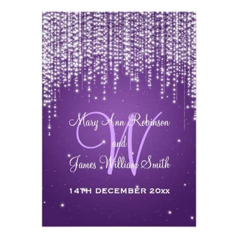 Elegant Wedding Night Dazzle Purple Invitation Zazzle