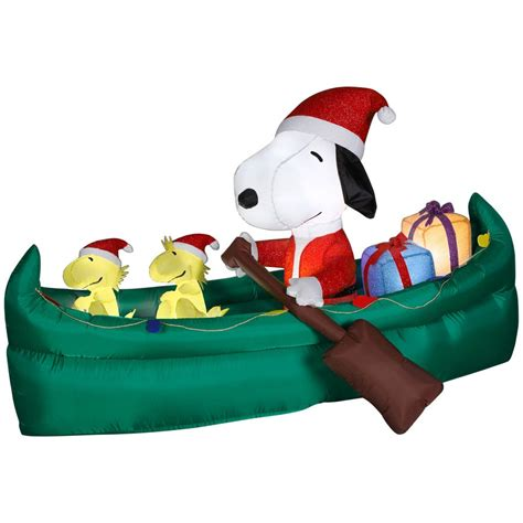 holiday living animated snoopy with presents in canoe