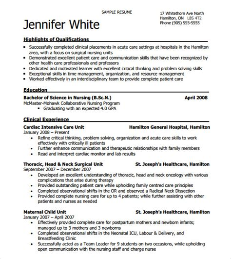16337 nursing resume templates free 9 sle nursing resumes sle templates