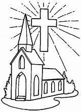 Church Coloring Pages Cross Drawing Shining Simple Print Printable Helpers Place Template Building Inside Getcolorings Getdrawings Comments sketch template