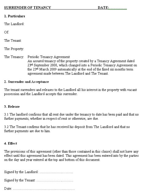 tenancy letter  tenant  landlord uk