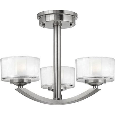 deco low ceiling light fitting brushed nickel with 3