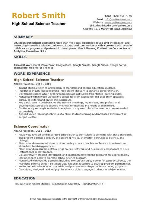 high school science teacher resume sles qwikresume
