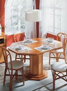 Table, Octogonale, En, Rotin