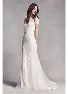 white by vera wang short sleeve lace wedding dress david With short sleeve wedding dress