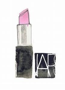 lipstick make up nars illustration pink bright fashion art